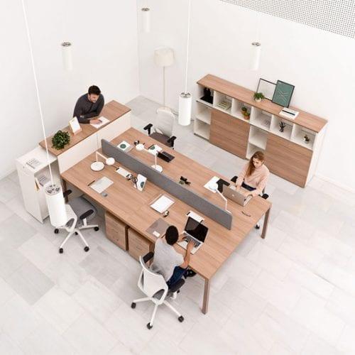 Actiu Prisma Rectangular Bench Desk shown from the above