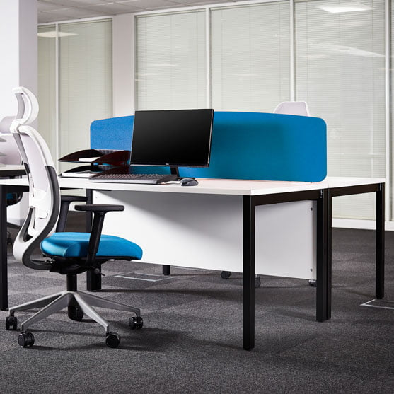 EX10 Desks shown with an office chair