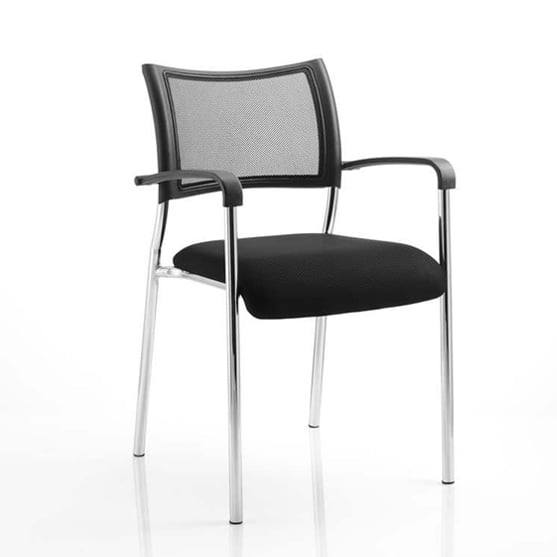 Brunswick 4 leg office meeting chair black seat mesh back chrome frame with arms