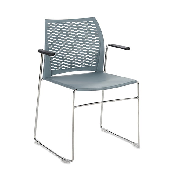 Connection Xpresso Perforated Office Breakout Chair Powder Blue Chrome