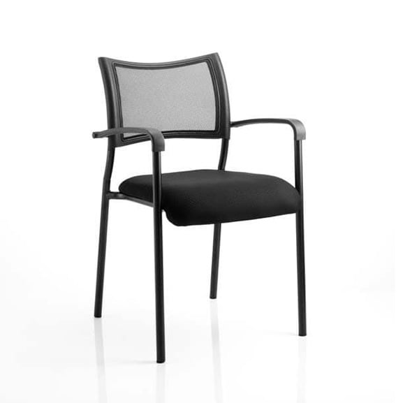 Brunswick 4 Leg Office Meeting Chair With Arms Black with Black Frame