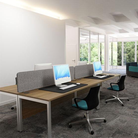 EX-10 Rectangular Desk with grey office desks dividers