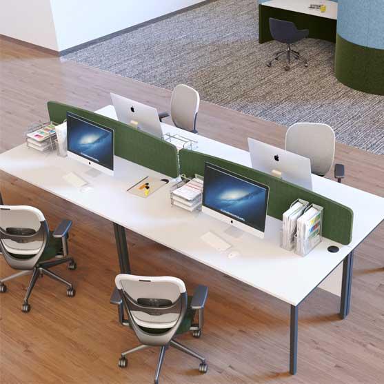 EX 10 desks shown in a modern office