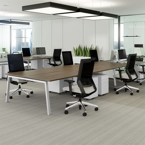 Linea Bench Desk and black office chairs