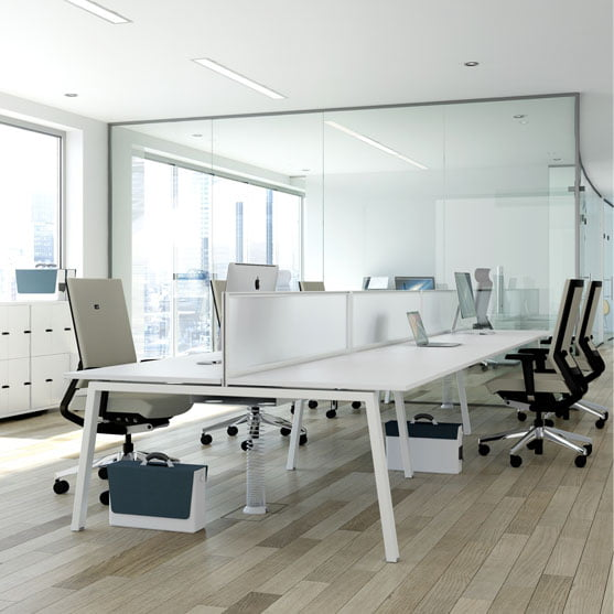Linea Bench Desk in White shown with green office chairs