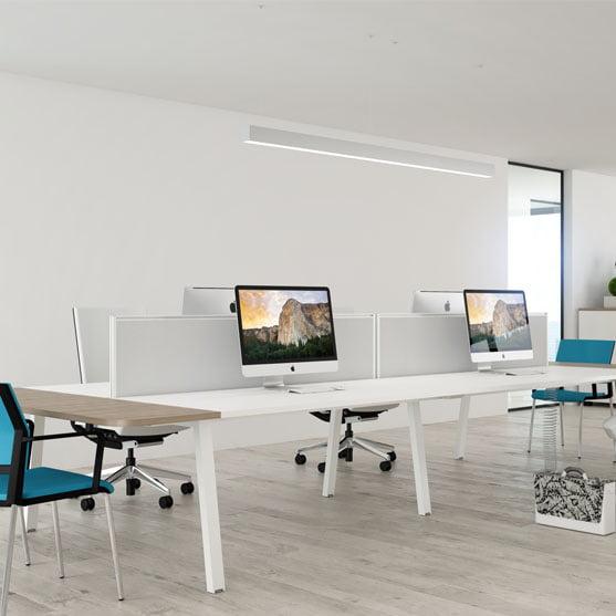 Linea Bench Desk in white shown in a modern office