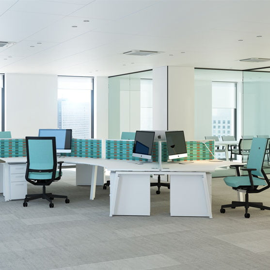 Linea Bench Desks with office chairss