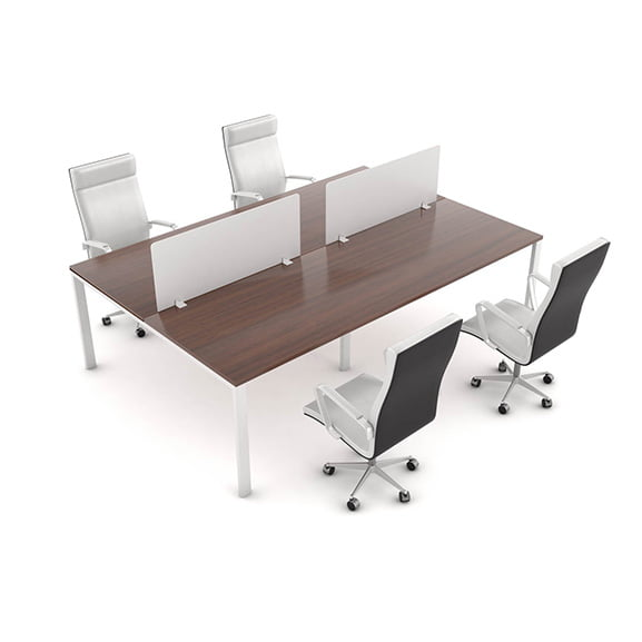 Era White Desk Mounted Screen Shown with Executive Office Chairs