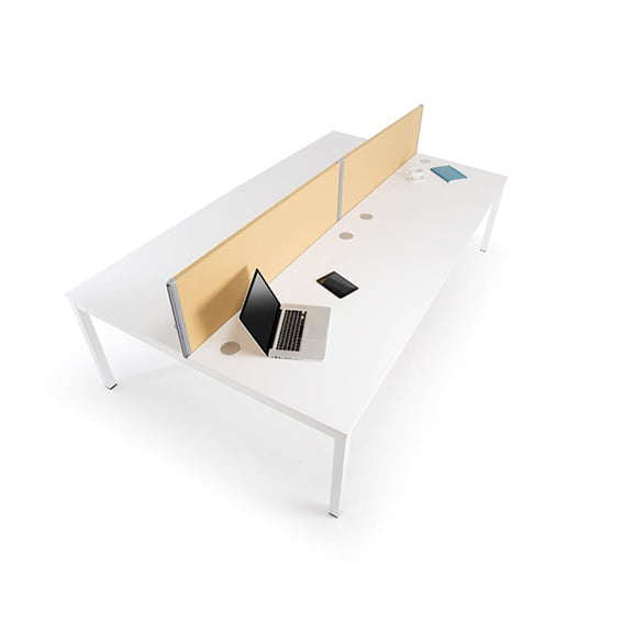 Era Yellow One Series Desk Mounted Screen with Straight White Desk