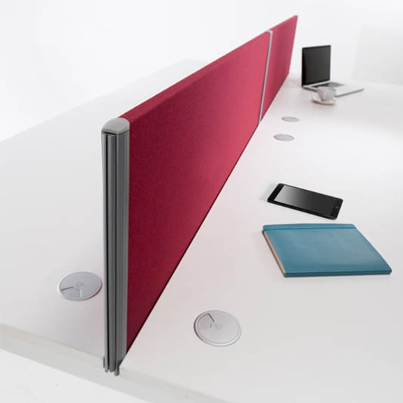 White Straight Desk with Red Desk Mounted Screen