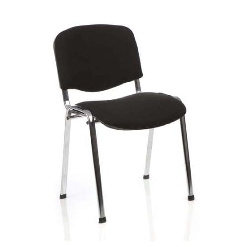 BT Office ISO 4 Leg Office Meeting Chair Chrome Black Fabric