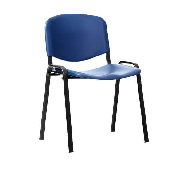 ISO-Stacking-Chair-Blue-Poly-Black-Frame-Without-Arm
