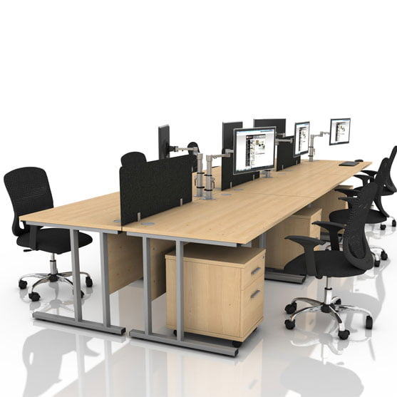 Icarus Maple Cantilever Leg shown with black office chairs