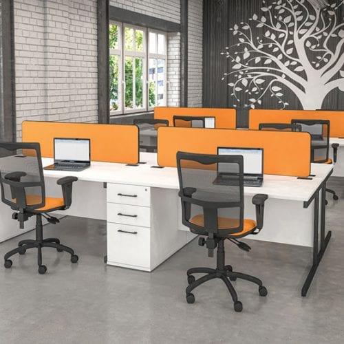 Imperial Sirius Desk in Orange and White