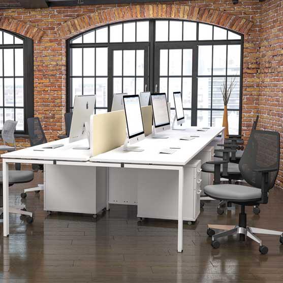 Veta Bench Desk in white