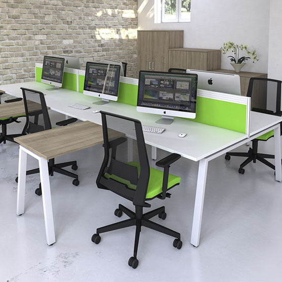 Imperial ibench deskshown with black office chairs