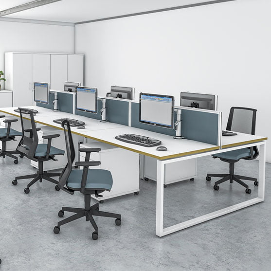 Imperial ibench desks in white with grey office chairs
