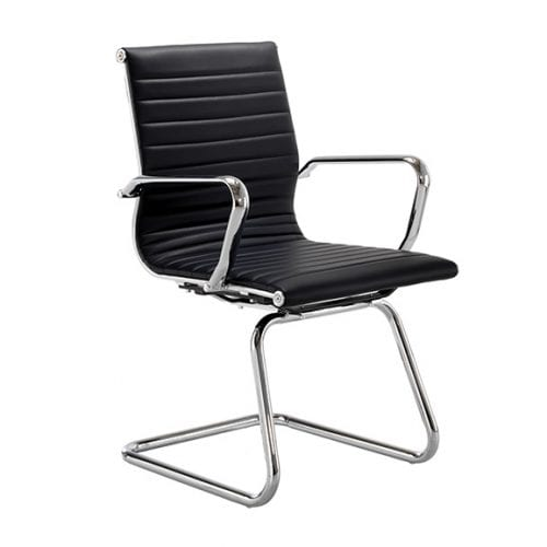 Aria medium back office meeting chair cantilever frame black leather