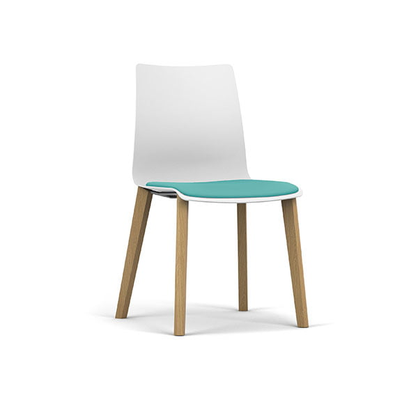 Pledge Fjord Office Breakout Chair White Shell Wood Legs Upholstered Seat