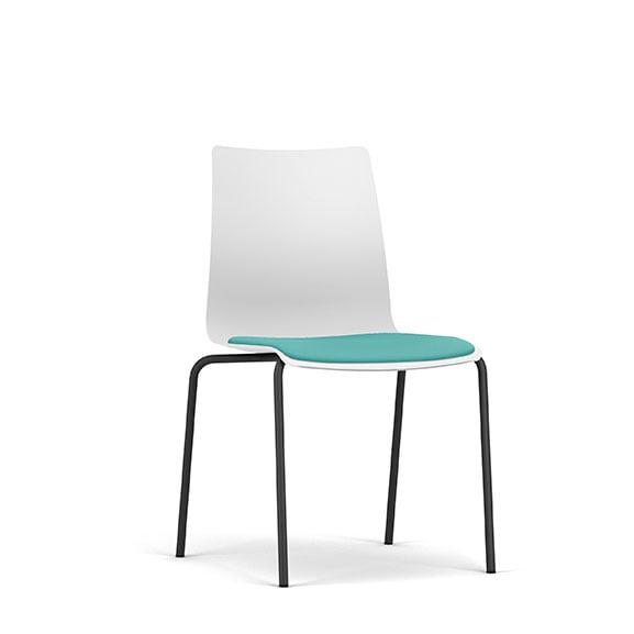 Pledge Fjord Office Breakout Chair White Shell Black Legs Upholstered Seat