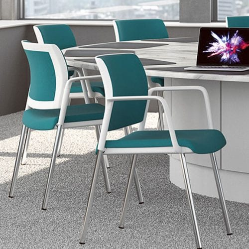 Kind mesh back office meeting chair 4 leg white frame with arms