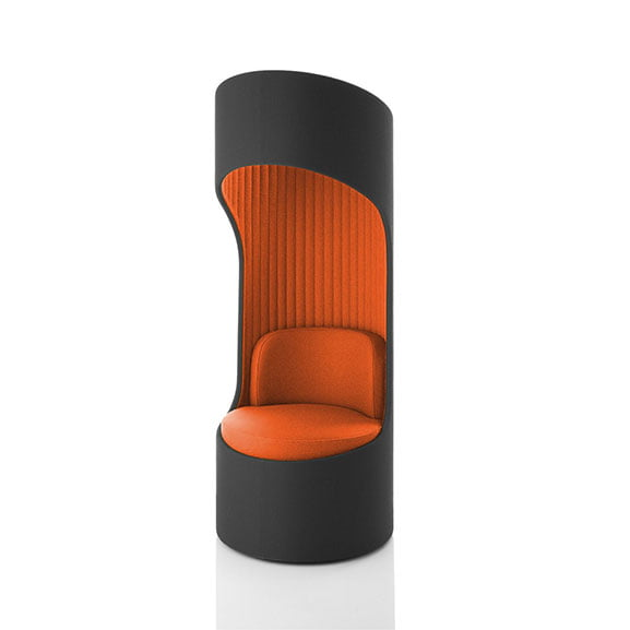 Orange and dark grey boss cega high back sofa acoustic properties perfect for offices