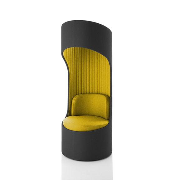 Yellow and dark grey boss cega high back acoustic seating