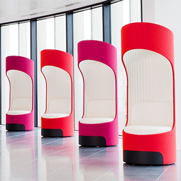 Pink and white boss cega high back acoustic seating