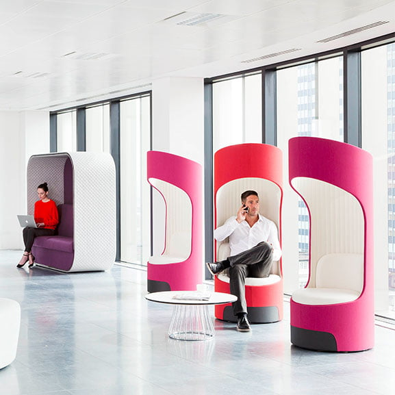 Boss cega high back and roof acoustic seating in pink and purple