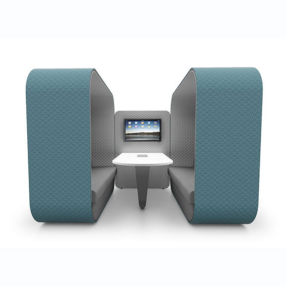 Boss Cocoon High Back Sofa Booth in Blue perfect for meetings