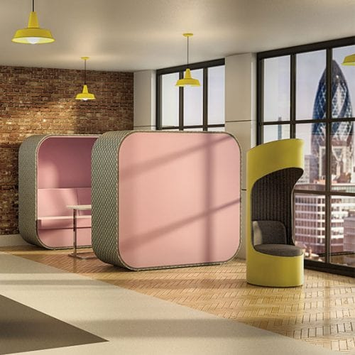 Boss Cocoon High Back Pink and Grey Acoustic Seating