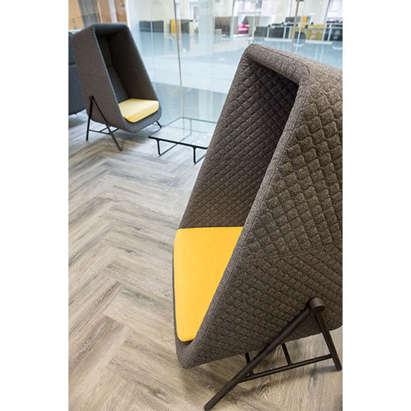 Yellow and grey muse high back acoustic seating with quilt detail connection