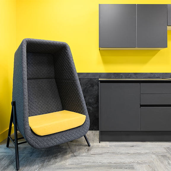Yellow and grey connection muse high back acoustic seating office spaces
