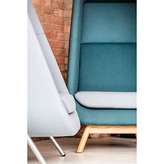 Connection muse high back acoustic seating in blue and white for office and work places