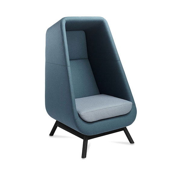 Blue connection muse high back sofa and acoustic seating with black metal legs and light blue seat perfect for collaborative spaces