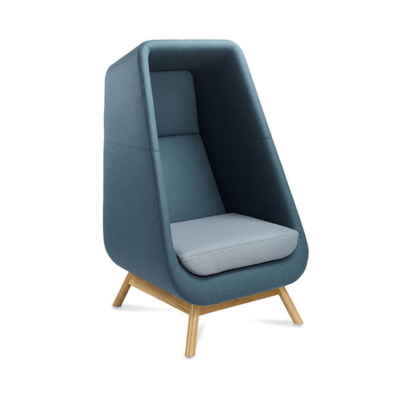 Connection muse high back acoustic seating and sofa with wooden legs and blue exterior with light blue seat