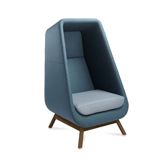 Muse acoustic seating with high back, blue fabric and wooden legs for office and workplaces