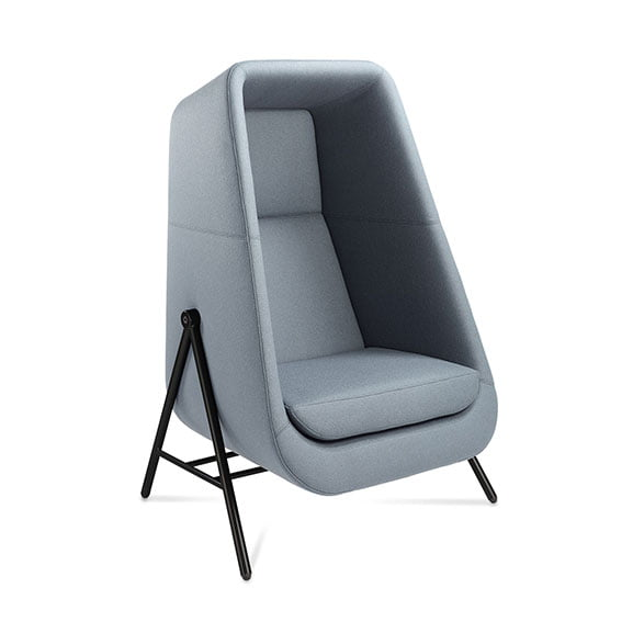 Connection Muse High Back Acoustic Seating in Light Blue with Black Legs