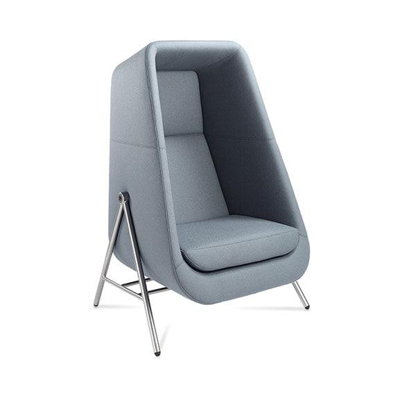 Light blue muse high back acoustic seating and sofa with chrome legs connection workplace and office spaces