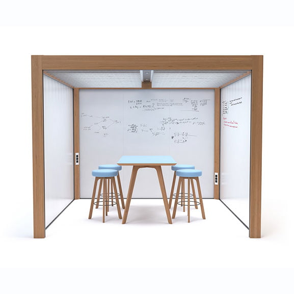 Rooms office pods with three white walls, meeting space connection