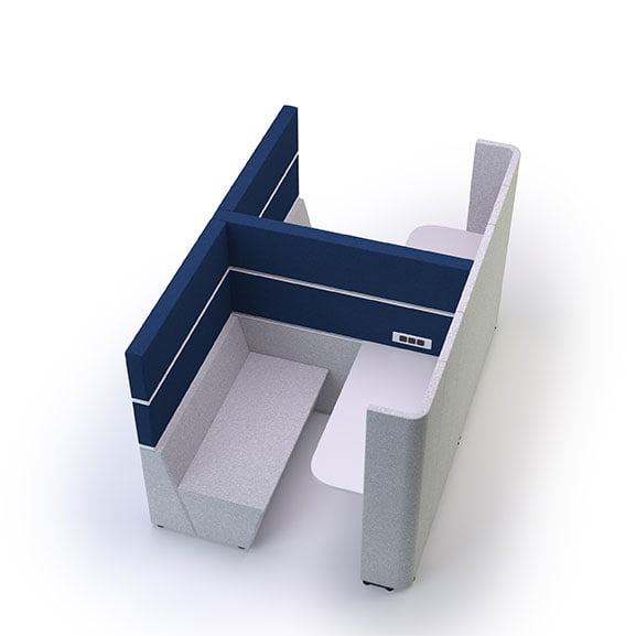 Cubbi Work Booth in blue and grey shown in a white background