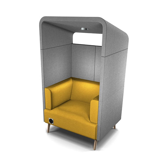 Tryst canopy high back acoustic seating connection yellow and grey single seat