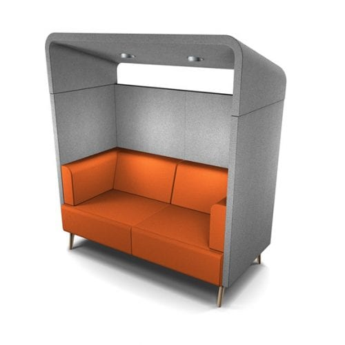 Connnection tryst canopy high back sofa and acoustic seating two seater in orange and grey