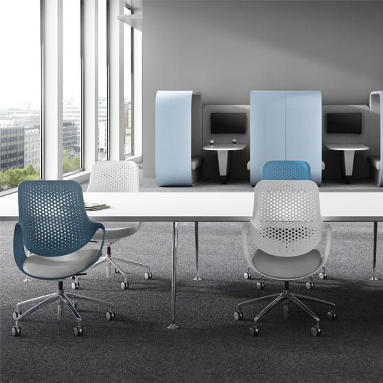 Coza Task Chair shown in an office office chairs in blue and white