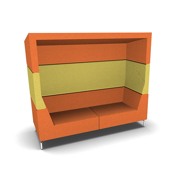 Orange and Yellow Dams Alban Double Top High Back Acoustic Seating perfect for collaborative work spaces
