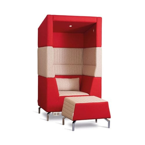 Alban Single High Back Acoustic Seating with Foot Stool in Red and Cream Dams