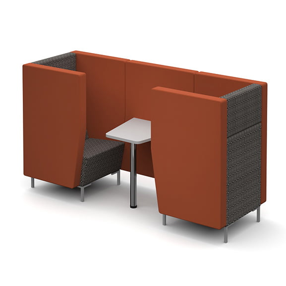 Dams encore high back sofa booth single seat with white table and metal legs