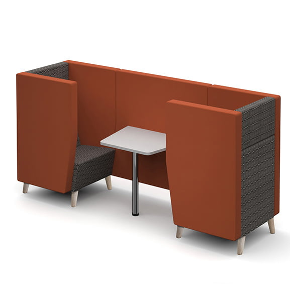 Dams encore high back sofa booth with wooden legs and wider back perfect for collaborative spaces