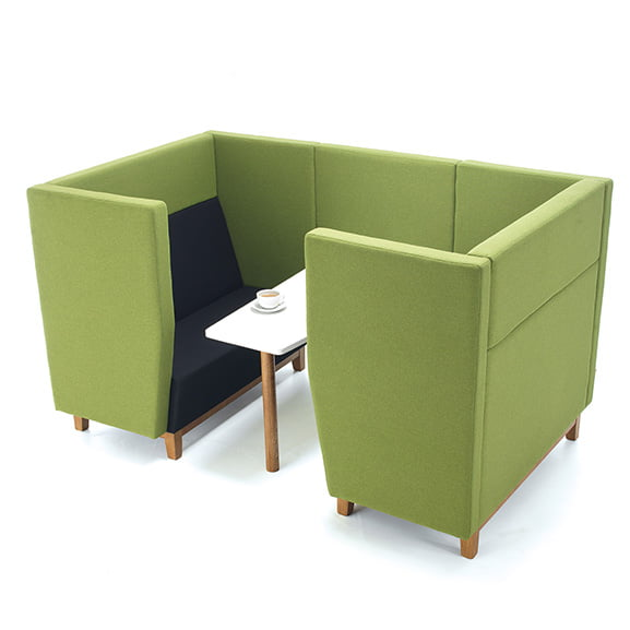 Green and blue dams encore high back sofa booth four seater booth with wooden legs