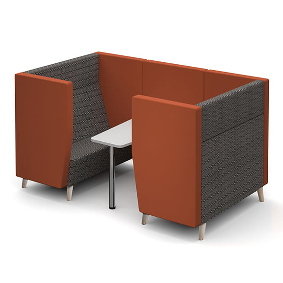 Four seater dams encore high back sofa booth with metal legs and white table